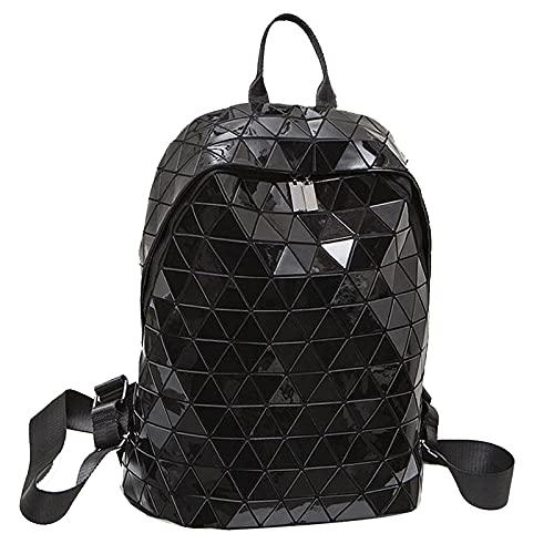 QIANJINGCQ nueva tendencia bolsos de rombo luminoso PU moda geométrica láser luminoso personalidad salvaje mochila