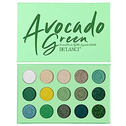QUUY 15 kleuren oogschaduwpalet mat fonkelende ogen schaduw poeder make-up cosmetica oogschaduw palet duurzaam waterdicht groen
