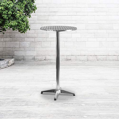 "Flash Furniture Redonda de Aluminio para Interiores y Exteriores con Mesa abatible, Metal, Plateado, 23.25"" W x 23.25"" D x 45"" H"