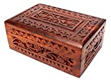 Jk Handicrafts Handmade Wooden Jewellery Box for Women Wood Jewel Organizer Hand Carved with Intricate Carvings Gift Items - 6 inches