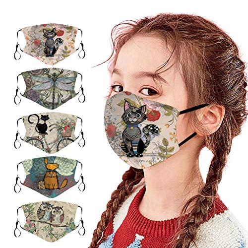 Rosennie 5 Stück Kinder Mundschutz Multifunktionstuch 3D Cartoon Druck Atmungsaktive Baumwolle Stoffmaske Waschbar Mund-Nasen Bedeckung Bandana Halstuch Jungen Mädchen