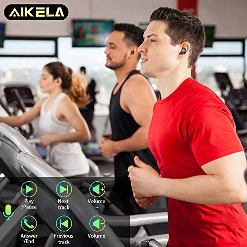 Wireless Earbuds,AIKELA TWS Bluetooth 5.0 Headphones 3500mAh with LED Charging Dock 140H Playtime 3D Stereo Sound Noise Canceling IPX7 Waterproof in-Ear Headset Earphones with Built-in Mic for Sports