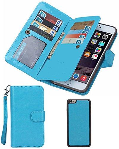Black Deals Friday Cyber Deals Monday Sales Offer-for iPhone 7 Wallet Case,Premium Vintage Leather Wallet Case Magnetic Detachable Slim Back Cover Card Holder Slot Wrist Strap(iPhone 7, Turquoise)