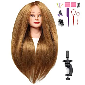 SILKY 26 -28  Long Hair Mannequin Head with 60% Real Hair Hairdresser Practice Training Head Cosmetology Manikin Doll Head with 9 Tools and Clamp - #27 Golden Makeup On