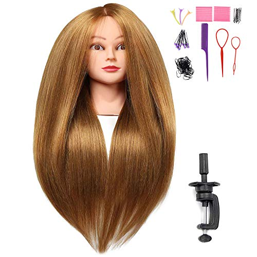 SILKY 26'-28' Long Hair Mannequin Head with 60% Real Hair, Hairdresser Practice Training Head Cosmetology Manikin Doll Head with 9 Tools and Clamp - #27 Golden, Makeup On