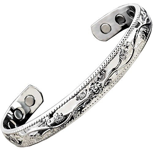 Holistic Magnets® Magnetarmband Damen Kupfer Armband (Anlauffarbenfrei) Geschenkideen für Frauen Handgelenk Gelenkheilung Magnetarmbänder Silber getont +Geschenkbox–SF (M: Handgelenk 15-18,5cm)