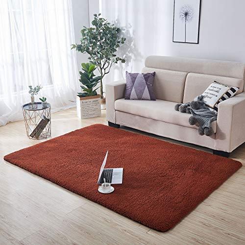 Alfombra de imitación de Piel de Cordero,Sintética de calidad Alfombra de Lana,Alfombra de terciopelo de cordero suave engrosada, alfombra mullida y cómoda para sala de estar 80 * 160 cm marrón.