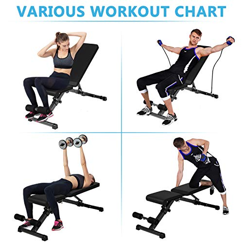 Weanas Adjustable Weight Bench, Utility Foldable Sit Up Bench Automatic Lock Multi-Purpose Decline/Incline/Flat Folding Full Body Workout Bench for Home Gym (Black w/bands)
