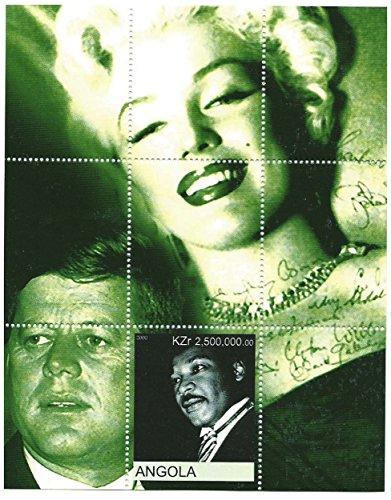 Legenden des 20. Jahrhunderts, mit Martin Luther King, John F. Kennedy und Marilyn Monroe. Das Blatt hat eine Briefmarke/MNH/Angola