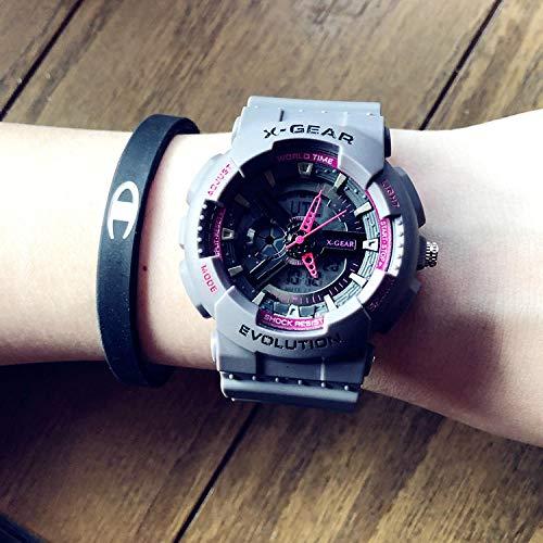 TWCAM Lederarmband männer Edelstahl Armband- Sportuhr Weibliche wasserdichte Atmosphäre Persönlichkeit Elektronische Uhr Männlich, Kleines Graues Pulver