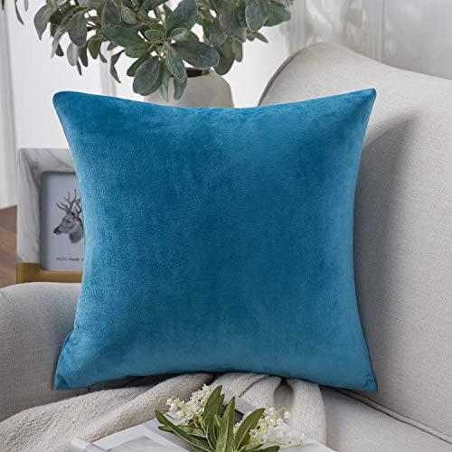 PHANTOSCOPE Decorative Soft Velvet Series Blue Throw Pillow Case Cushion Cover 20' x 20' 50 x 50 cm