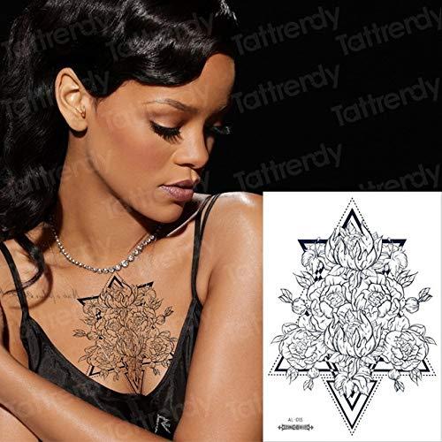 Handaxian 3pcslace Tattoo Tatouage Noir imperméable à l'eau Lotus Tatouage Dos Tatouage Vintage Tatouage