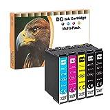D&C 5x Cartuchos de tinta compatibles con Epson T0711 T0712 T0713 T0714 para Epson Office B40W BX-300F BX-310FN BX-510 W BX-600FW BX-610FW Stylus D120 D78 D92 DX-4000 DX-4050 DX-4400 DX-5000 DX-5050