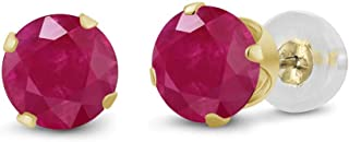 Gem Stone King 14K Yellow Gold Red Ruby Women's Stud Earrings 1.12 Cttw Round Cut 5MM