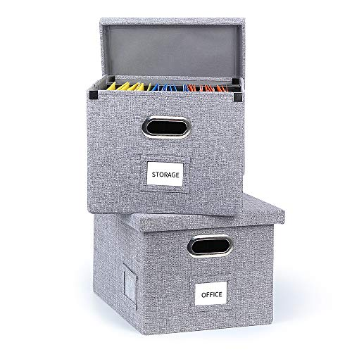 Upgraded Collapsible Hanging File Storage Boxes with Smooth Sliding Rail Large Capacity Filing Organizer Letter/Legal File Floder Storage, Office Box (Gray-2packs)