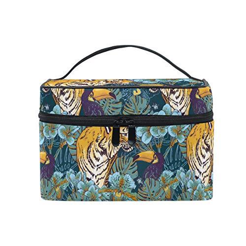 HaJie - Bolsa de maquillaje de gran capacidad, organizador de hojas de palmera tropicales de Tigre Toucan de viaje, portátil, bolsa de almacenamiento de artículos de tocador para mujeres y niñas