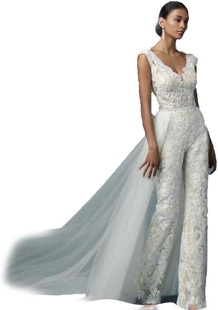 HYC Lace Bridal Jumpsuit Wedding Pants Dress Appliques Lace Wedding Gwon with Detachable Train