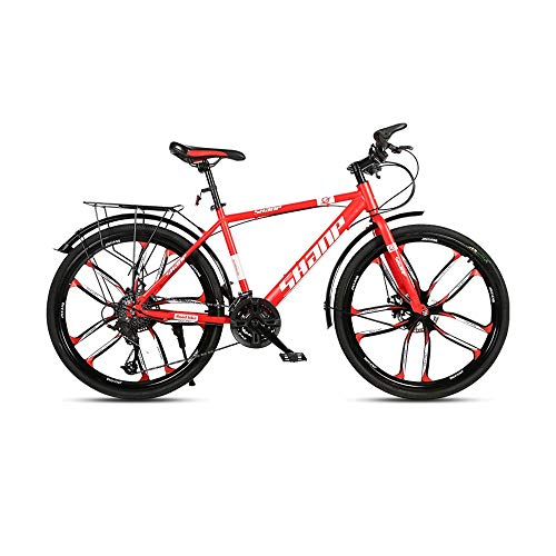 GYZLZZB Ten Knife Wheels Adult 26 Inch 21-Speed Bicycle Full Suspension Gears Dual Disc Brakes Mountain Bicycle, High-Carbon Steel Outdoors Mountain Bike with Shelves and Fenders(Red)