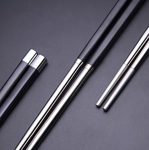 Bayli Set (5 Paar) Edelstahl Chinesische 24,3cm Essstäbchen | Spülmaschinenfest | Rostfrei Stäbchen | Wiederverwendbare Chopsticks für Asiatisches Geschirr Besteck