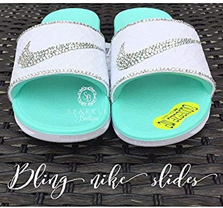 Bling NIKE Slides with Swarovski Crystals CUSTOM Nike Sandals with extra  Bling by SparkleBoutique2U defb947b4