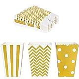 Cajas de palomitas de maíz 36 pcs Cartón Caramelo Contenedor para dulces para Cine Mesas de Postres Regalos de Boda Dorado