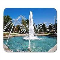 マウスパッド市ブルーウォーターベオグラード噴水でタスマイダン公園ガーデンマウスパッド用ノートブック、デスクトップコンピュータマットオフィス用品