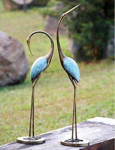 """Ebros Outdoor Zen Garden Aluminum Metal Pair Of Lover Preening Cranes Statues 36"""" and 29.5"""" Tall"""