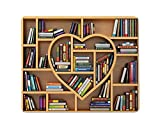 Yeuss Educational Philosophy Office Desktop Decorative Mouse Pad Education Concept. Bookcase with Books and Textbooks in The Form of Heart Non Slip Gaming Mousepad 200mm X 240mm