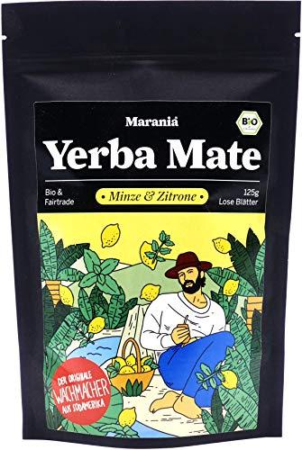 Marania® Yerba Mate Tee Bio mit Minze & Zitrone ● 125g Tee lose ● Erfrischender Bio Pfefferminztee lose ● Zitronengras Tee
