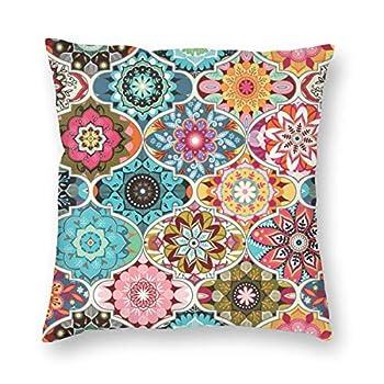 Munbroal Bohemian Summer Throw Pillow Cushion Cover Decorative Square Pillow Case 18  X 18