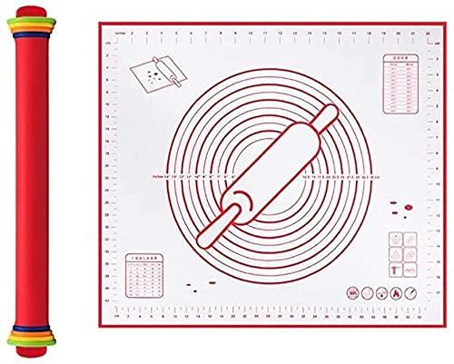 Pasas de silicona ajustables Dough ER con estera para hornear, no palo para galletas de pastel de pizza de masa para hornear (Color : Red)