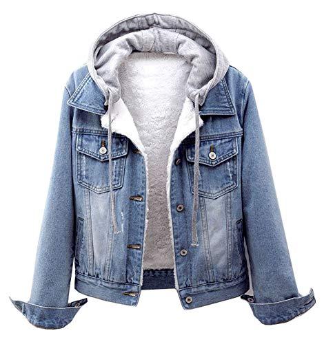 CYSTYLE Damen Winter Jeansjacke Gefütterte Denim Jacket Jeans Jacke mit Fell Mantel Warme Winterjacke mit Kapuze