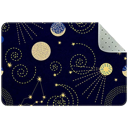 Lorvies Teppich mit Sternzeichen Himmel Sternbilder Halbmond Sputniks Bereich Teppich Anti-Rutsch-Bodenmatte Fußmatten für Wohnzimmer Schlafzimmer 61 x 40,6 cm, Polyester, multi, 90x60xm/35x24in
