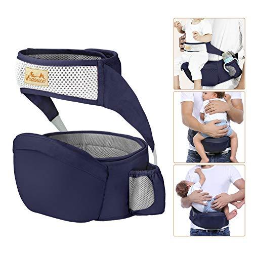 Viedouce Hipseat Marsupio con protezione per cintura di sicurezza,Puro Cotone Leggero e Traspirante,Ergonomico Neonati Marsupio Sicurezza Supporto per
