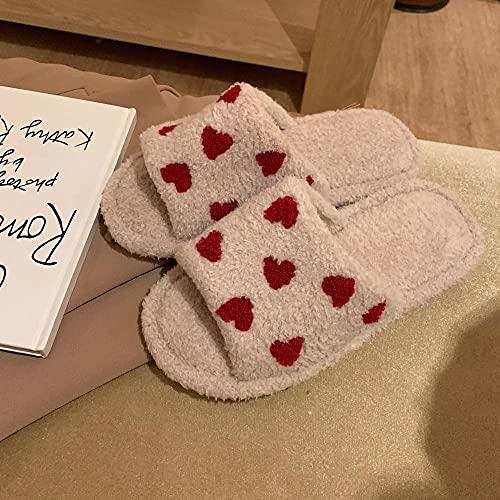 Zapatillas De Estar En Casa NiñO,Zapatillas para Cabello Femenino, OtoñO E Invierno Moda para NiñA HabitacióN CorazóN Caliente Linda Peluche De AlgodóN Zapatillas De AlgodóN-36-37_Caqui
