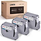 LEMERO Compatible with Brother P Touch M Tape M-K231 M231 MK231 M-K231s 12mm .47 White Label Tape - for Brother P Touch PT-65 PT-70 PT-80 PT-90 PT-45M 26.2 Feet Black on White (3 Pack)