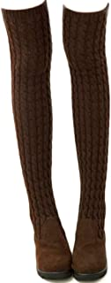 Dij Hoge Laarzen Damesschoenen Gebreide Wollen Laarzen Plat Over de Knie Stretch Damesschoenen Groot Maat 35-41
