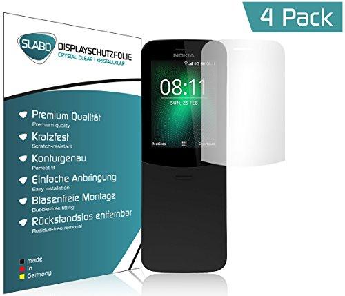 Slabo 4 x Bildschirmschutzfolie für Nokia 8110 4G Bildschirmfolie Schutzfolie Folie Zubehör Crystal Clear KLAR - unsichtbar Made IN Germany