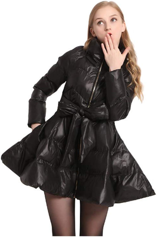 EryRon Women Bow Waist Fluffy Skirt Warm Parkas Winter Coat Women Down Black