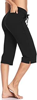 "HISKYWIN 17"" Inseam Women's Straight Leg Yoga Capri Workout Pants with Side & Zip Pockets F21-Black-XXL"