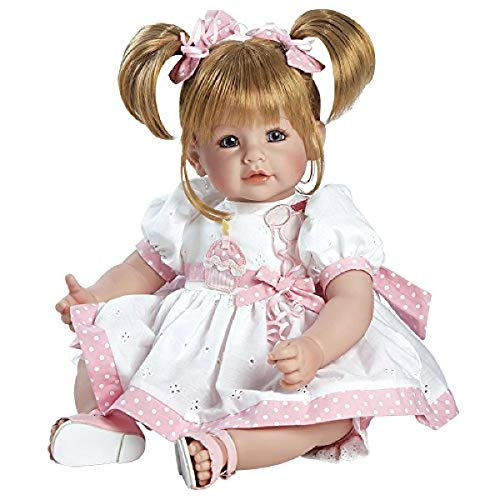 Adora Toddler Doll Happy Birthday Baby with fancy appliquéd birthday dress and pink sandals, 20 inches, 2020908