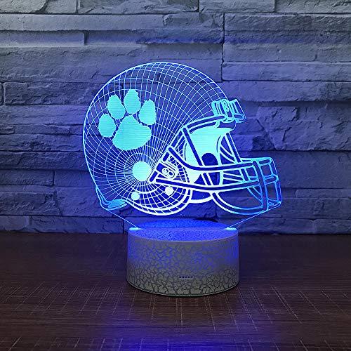 QHDHGR Luz Nocturna Infantil Luz de casco Lámpara de Noche 3D de 7 Colores con Control Remoto, Regalos de Cumpleaños para Niños y Adultos