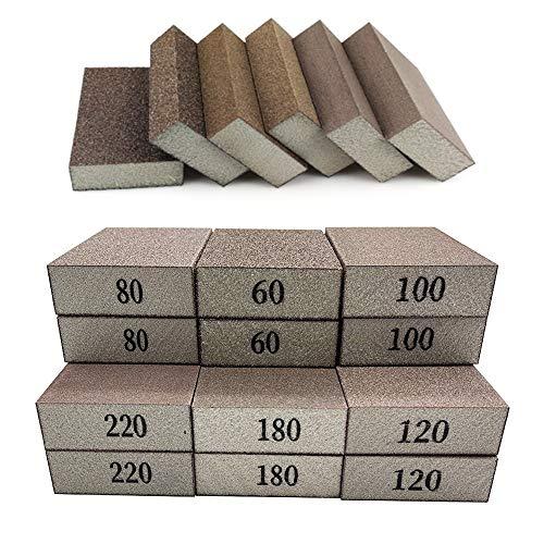 12 Pack Sanding Sponges,60 80 100 120 180 220 Sanding Block Coarse Medium Fine Grit for Pot Brush Pan Brush Sponge Brush Glasses Sanding Wood Sanding Metal Sanding,Washable and Reusable