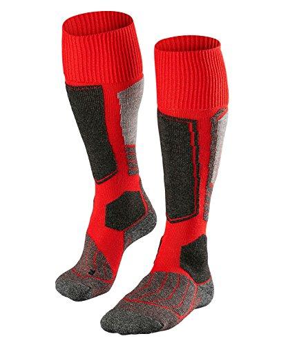 FALKE Herren Skisocken SK1, Skistrümpfe mit Merinowolle, atmungsaktive Kniestrümpfe zum Skifahren, hohe Wärmeisolation, extra starke Polsterung, 1er Pack, Rot (Lipstick 8000), 42-43