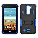 LG K7 Case, Heavy Duty Dual Layer Hybrid Case cover with Build In Kickstand Protective Case cover For LG K7 /Tribute 5 (T-Mobile, Sprint, Metro PCS, Boost Mobile) Black on Blue
