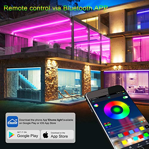Micomlan 50ft/15M Led Strip Lights,Music Sync Color Changing RGB LED Strip Lights Built-in Mic, Bluetooth app Controlled LED Lights Rope Lights, 5050 RGB LED Light Strip(APP+Remote+Mic+3 Button ) 2