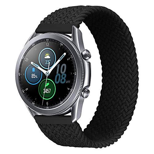 iBazal 20 mm Galaxy Watch 3 41 mm pulsera 40 mm 44 mm Nylon trenzado Solo Loop Band reemplazo para Samsung Galaxy Watch 42 mm Active 40 mm Gear S2 Classic,Gear Sport correa de repuesto – 4 Negro