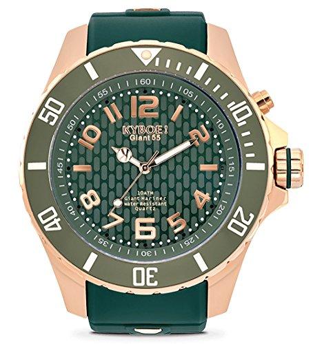 KYBOE! Reloj de cuarzo de acero inoxidable y silicona (modelo: oro rosa junglle)