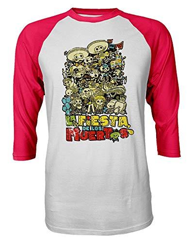Sunyuer Camiseta de Manga raglán Estampada con Estampado de Moda La Fiesta de los Muertos para Hombre Día de los Muertos