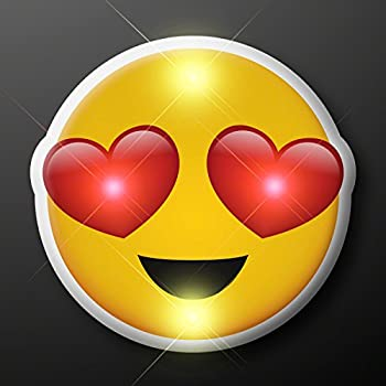 Light Up Heart Eyes Emoji Flashing Blinking LED Body Light Lapel Pins  25-Pack